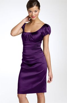 """Just wicked awesome for a """"wow"""" occasion. Love satin, the scooped neckline, the knee length hem, the rounded sleeves....everything."""