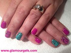 Get Pink Flamingo with a fun Chevron accent nail at Glamour Gels! Visit www.glamourgels.com