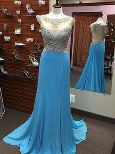 blue Prom Dresses,long prom dress,see through back prom Dress,beaded prom dress,charming prom gown,BD2981