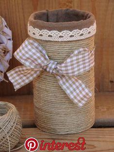 rustic burlap and black la Tin Can Crafts, Diy Arts And Crafts, Mason Jar Crafts, Bottle Crafts, Tin Art, Burlap Crafts, Recycled Crafts, Craft Projects, Crafty