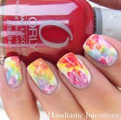 watercolor nails soft and light combo