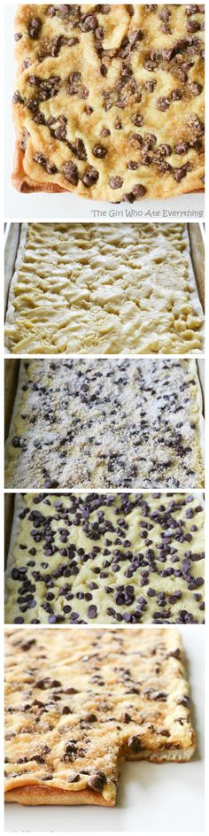 Chocolate Chip Pizza - pizza crust topped with a cake mix and chocolate chips. This will make you a rock star at your next party.