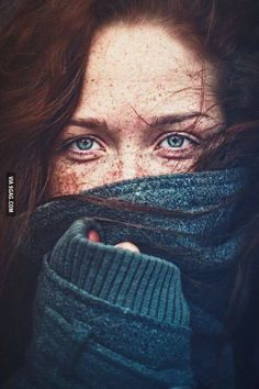 Great portrait of a red headed woman w/ striking blue eyes. Her lower face is covered drawing more attention to her beautiful eyes. Foto Portrait, Portrait Photography, Close Up Photography, Artistic Photography, White Photography, Regard Intense, Freckle Face, Portrait Inspiration, Color Inspiration