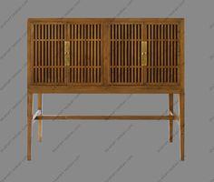 碗柜厨房柜[摆设新中式家具]榆木实木禅意茶室储物边柜酒柜餐边柜-淘宝网