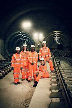 "Women of Crossrail: from left, talent and resources director Valerie Todd; sponsorship head Sarah Johnson; trainee quantity surveyor Fatima Alghali; global transport guru Isabel Dedring (seated); and civil engineer Linda Miller. ""Whenever my teenage sons bring their female friends to visit,"" says Miller, ""I always say to them, 'Consider becoming an engineer!'"""