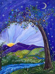 Whimsical Art - Dreaming Tree  by Tanielle Childers
