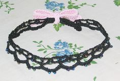 Ribbon Choker..beaded lace... Free pattern!
