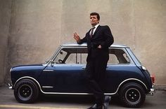 James Garner with his Mini Cooper S C. 1966 ::::all cool people drove blue minis