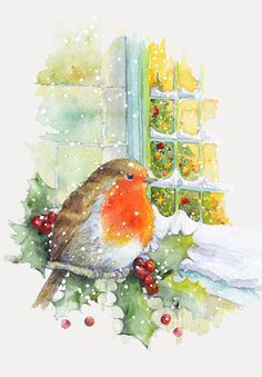 Album 2 « Gallery 15 « Christmas (by category) « Jan Pashley – Illustration / Design Modern Christmas Cards, Christmas Bird, Christmas Graphics, Christmas Scenes, Christmas Cards To Make, Christmas Pictures, Xmas Cards, Vintage Christmas, Christmas Crafts