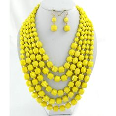 "Yellow 24"" layered beads necklace set"