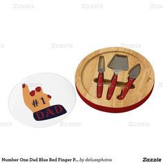 Number One Dad Blue Red Finger Points Up Cheese Board