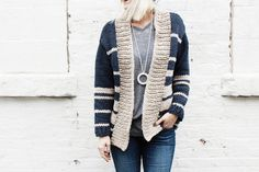 With a collegiate look and a straight, boxy silhouette, this masculine cardigan has an instant lived-in feel to it. It's the kind of thing you never want to take off and the simplicity of the pattern makes it a quick knit that is sure ...