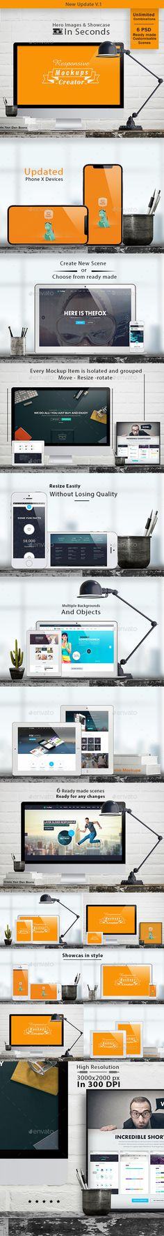 Buy Responsive Mockups Creator - Showcase & Hero Images by Media_Variety on GraphicRiver. Updated with iphone x device Responsive Mockups Creator Builds your Web hero image products and showcase presentation. Scene Creator, The Creator, Mockup Creator, Display Mockup, Mockup Photoshop, Showcase Design, Ui Design, Graphic Design, Interior Design