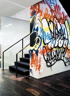 "#Graffiti interior wall   idea @Janet Hayden Newman  how about a NewYork Broadway Graffiti theme... (maybe smaller scale) on a wall going into your sewing area?   New York Stage, ""the basement""   :)"