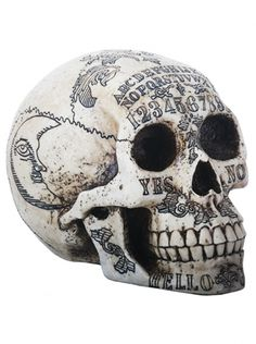 """The Ouija Skull is a great way to represent your love of skulls and the classic spirit board, the """"Ouija."""" The Ouija is also known as a """"talking board. Skull Head, Skull Art, Table Ouija, Memento Mori, Head Statue, Decoration Inspiration, Skull Decor, Human Skull, Human Skeleton"""