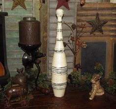 "Primitive Antique Vtg Style Wooden 17"" Juggling Circus Club Exercise Bowling Pin…"