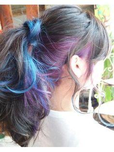 インナーカラー*ブルー×パープル/attic hair design & relaxation 【アティック】をご紹介。2017年冬の最新ヘアスタイルを100万点以上掲載!ミディアム、ショート、ボブなど豊富な条件でヘアスタイル・髪型・アレンジをチェック。 Hidden Hair Color, Hair Color And Cut, Cool Hair Color, Peekaboo Hair, Denim Hair, Fluffy Hair, Retro Hairstyles, Hair Images, Love Hair