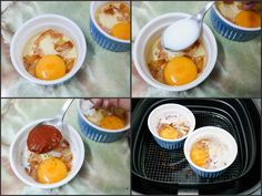 Air fryer baked eggs with Parmesan, bacon & tomato
