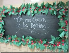 A festive greeting...'it's the season to be reading! Cute chalkboard effect with black butcher paper.