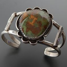 NATIVE AMERICAN NAVAJO STERLING SILVER GREEN TURQUOISE WIDE CUFF BRACELET