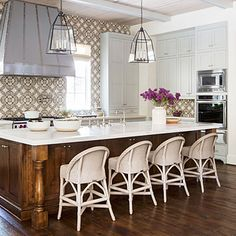 Love the pattern of these handmade tiles! Scene-Stealing Backsplash - Best New Kitchen - Southern Living