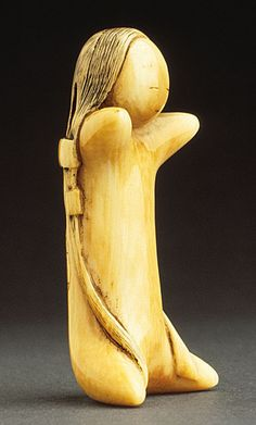 Masanao (School of) (Japan)   Substitute Doll, late 18th century  Netsuke, Ivory with staining, sumi. LACMA
