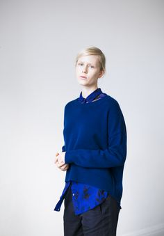 The Brighter Crew sweater in dark twilight navy layered over the silk chiffon Robin Blouse from Brochu Walker Pre-Fall 2015