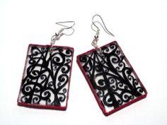 #drawing #earrings #handmade #black #zigzag #Plexi