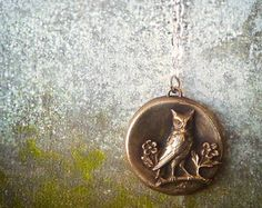 Goddess of Wisdom Bronze Wax Seal Owl Pendant