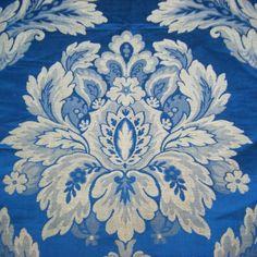 A bright royal blue & pale gray silk lampas. Early 19thc. Louis XIV style @FrenchAntiqueTextiles.com.