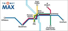 MAX Simple Map ~ MAX Blue Line TriMet's MAX Blue Line light rail service connects Hillsboro, Beaverton, downtown Portland, East Portland and Gresham. Trains run every 15 minutes or better most of the day, every day. Service is less frequent in the early morning, mid-day and evening.