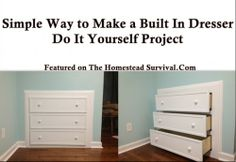 The Homestead Survival | Simple Way to Make a Built In Dresser DIY Project | http://thehomesteadsurvival.com