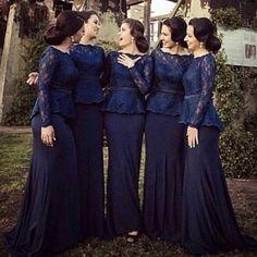Hot 2016 Long Sleeves Lace Mermaid Bridesmaid Dresses Bateau Floor Length Navy Blue Elegant Plus Size