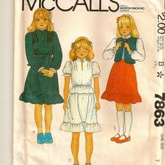 A Prairie Style Vest, Blouse and Skirt Pattern for Girls