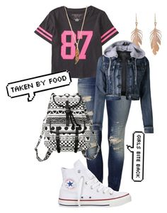 """""""My school Look"""" by tolbaawesomeness ❤ liked on Polyvore featuring Mavi, Aéropostale, Monki, Converse, Forever 21, Annette Ferdinandsen and LE3NO"""