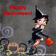 Happy Halloween! More Betty Boop Holiday Graphics & Greetings ★ http://bettybooppicturesarchive.blogspot.com/search/label/Halloween AND ON FACEBOOK https://www.facebook.com/media/set/?set=a.710293905651126.1073741836.157123250968197&type=3 The spooks are out tonight - Sexy Betty Boop witch with short dress, long gloves and ankle boots