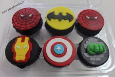 Spiderman, Hulk, Batman, Captain America, Iron Man Superhero, Avengers theme customized designer fondant cupcakes for kids birthday at Pune