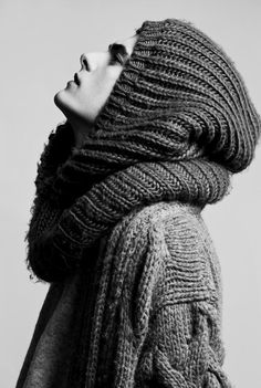 >> Love the scarf/ hood/ knit whatever it is on His head
