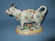 Staffordshire hand painted Cow Creamer - 20th c.