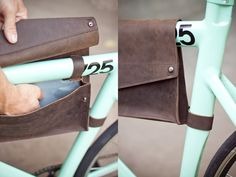Bike frame leather bag; over the frame constructions allows for more storage.