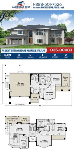 A unique 2-story Mediterranean house, Plan 035-00883 was designed with 3,191 sq. ft., 3 bedrooms, 2.5 bathrooms, a formal living room, a kitchen island, and an open floor plan. See more details about this Mediterranean house plan on our website. Single Floor House Design, Stucco Exterior, Mediterranean House Plans, Common Room, Clay Tiles, Formal Living Rooms, Building Plans, Open Floor, Square Feet