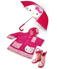 Ack! The cuteness! Hello Kitty rain gear, boots and umbrella!