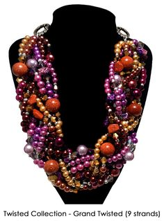 """So LOVING this color combination! It's a J by JT """"Grand Twisted Collection"""" beauty featuring purples, golds, and chocolate browns. 9 strands of awesomeness in this fab statement necklace!  GRAND TWISTED Statement Necklace Purple by JewelryByJessicaT,"""
