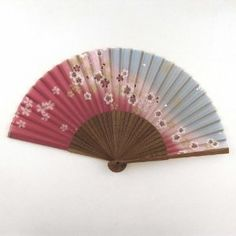 Japanese Silk Handheld Fan, Pink and Grey Small Flowers HF87