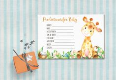 Baby Shower Predictions Card Printable Giraffe by tranquillina