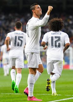 """""""Cristiano Ronaldo of Real Madrid celebrates after scoring Real's 2nd goal from the penalty spot during the UEFA Champions League Group A match between Real Madrid and Shakhtar Donetsk at estadio..."""