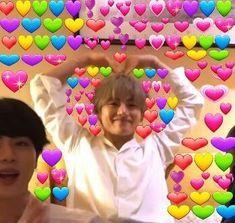 jimin bts jin suga jungkook rm v jhope min yoongi namjoon taehyung hoseok reaction memes hearts wholesome meme Bts Blackpink, Bts Taehyung, Lol So True, New Memes, Funny Memes, Memes Shrek, Bts Emoji, Bts Face, Heart Meme