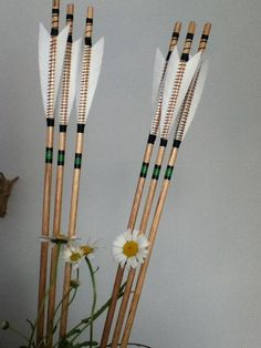 My beautiful long bow arrows all hand made , fletched and painted by Stuart Gelder