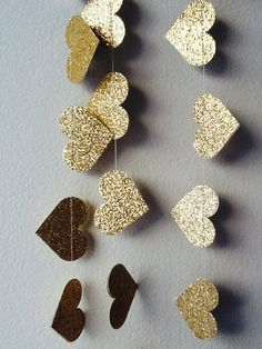 Hang our Gold Lux Heart Paper Garland for instant glitz! Materials include soft gold glitter paper which is double sided- so you get sparkle from Gold Glitter Paper, Glitter Art, Glitter Cardstock, Glitter Fabric, Glitter Nails, Foam Sheet Crafts, Foam Crafts, Paper Crafts For Kids, Diy Arts And Crafts