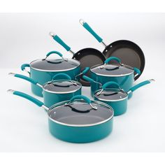 KitchenAid Peacock 12-piece Cookware Set | Overstock.com ahhhh love the color!